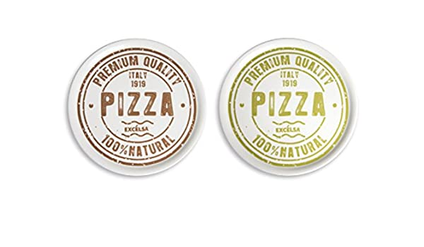 Excelsa PREMIUM QUALITY set 6 piatti pizza in ceramica bianca cm 31 3 x decoro