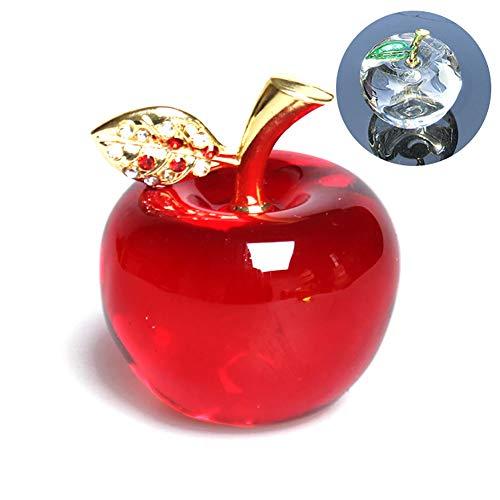 hou zhi liang - Pisapapeles de Cristal de Manzana para decoración del hogar, Adorno de Coche, Figura Decorativa en Miniatura, Regalo de Recuerdo (Hoja de Cristal)