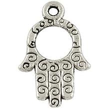 8d4800d8db9bd Charming Beads 5 x Argento Antico Tibetano 23mm Ciondoli Pendente (Hamsa  Mano di Fatima)