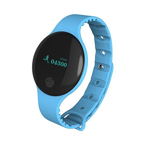 Muamaly Fitness Armband mit Blutdruckmessung, Pulsmesser Wasserdicht Fitness Tracker Aktivitätstracker Pulsuhren Smartwatch Bluetooth Smart Watch Sport Armband für iPhone Android Handy (Blau)