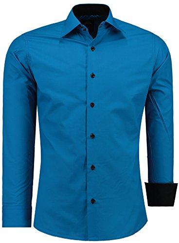 Jeel uomo camicia casual maniche lunghe contrasto slim fit tg s m l xl xxl, blu petrol xl