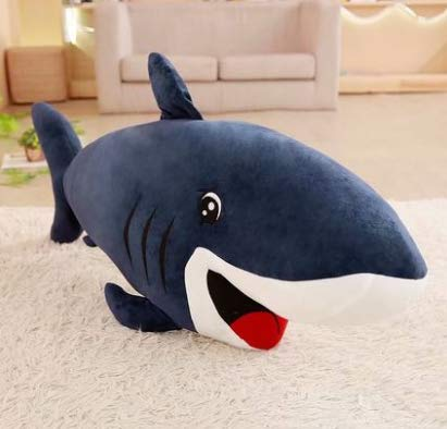 XXCKA Cute Big Shark Plush Toy Great White Shark Doll Sleeping Pillow Children Doll Doll Birthday Gift Female 70Cm 1Pcs Blue