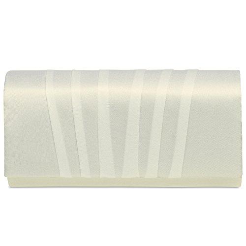 CASPAR TA390 elegante Damen Satin Clutsch Tasche Abendtasche mit vertikalen Falten, Farbe:elfenbein;Größe:One Size