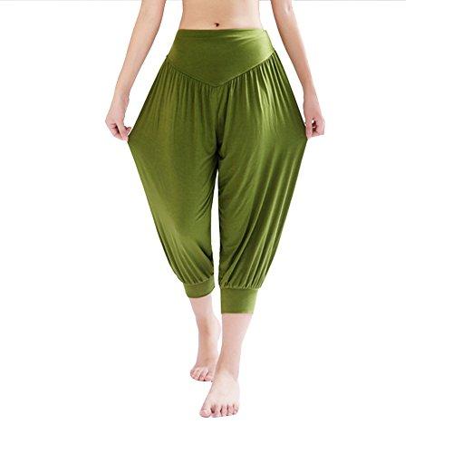 DaoJian Femmes Super Soft Spandex Yoga Bloomers Pants Herbe verte