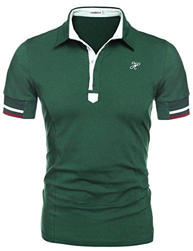HOTOUCH Herren Poloshirt Polohemd Slim Fit Hemd Polo Shirt Kurzarm Grün