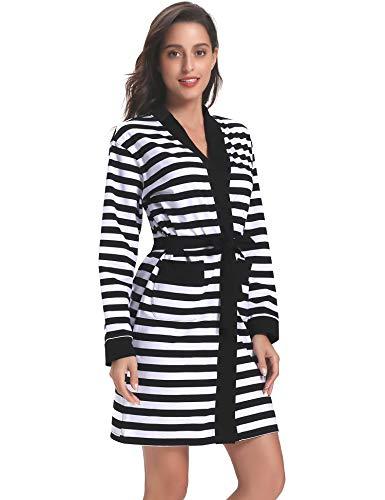 Heilung Dressings (Hawiton Damen-Bademantel aus Baumwolle, gestreift, Lange Ärmel, Kimono, Schlafmantel - Schwarz - Large)