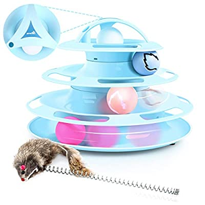 Pecute Cat Roller Toy 4 Layers - More Fun with Upgraded Catnip Ball Flashing Ball and Feather Wand Cat Toy Interactive for Cats- Detachable Sturdy Anti-Skid (Blue)