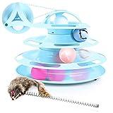 Pecute Giocattolo Gatto Traccia Antiscivolo e Removibile per Gatti 4 Strati 4 Palle con Catnip e Bacchetta da Gioco