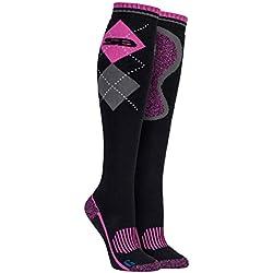 Storm Bloc - Femme chaussettes de coton hautes equitation avec carreaux motif pour bottes (37-42 eur, SBGLS007CER)
