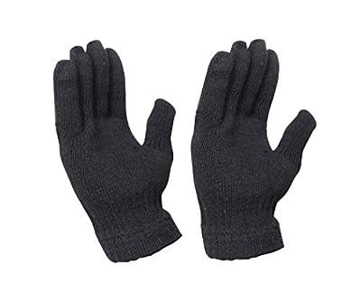 Krystle Unisex Winter Woollen Black Gloves