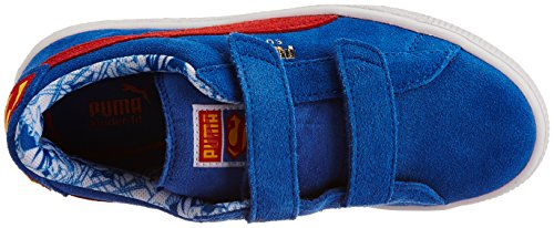 Puma Suede Superman V Unisex-Kinder Sneakers Blau (strong blue-high risk red-buttercup 01)
