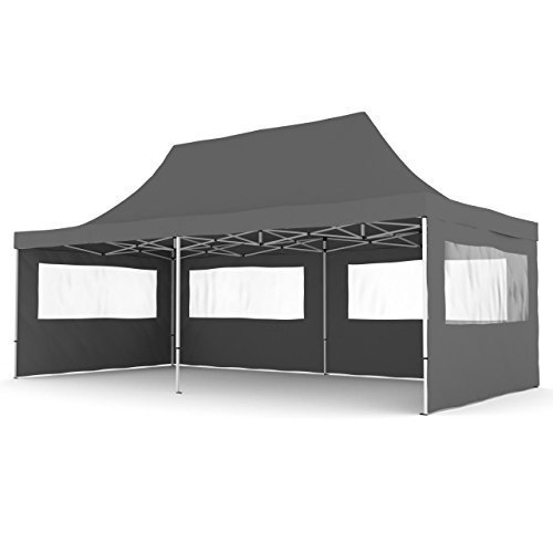 Gartenpavillon TENT06 Aluminium Faltpavillon 3 x 6 m Anthrazit