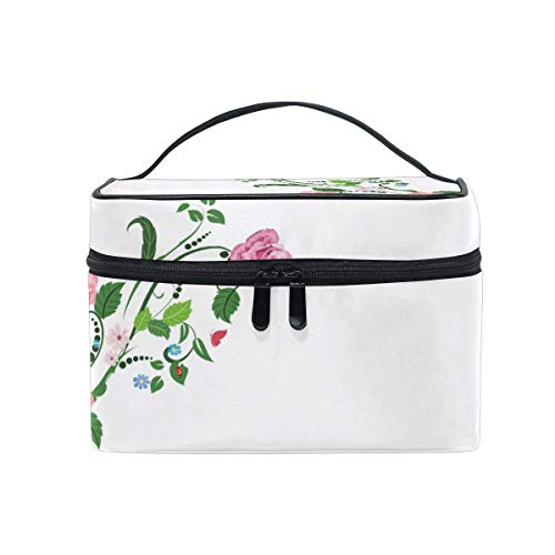 Energetic Roses Large Makeup Organiser Bag Toiletry Bag Waterproof Travel Case for Women Girl,High Quality Zipper Storage Bag Vanity case with Adjustable Compartments -