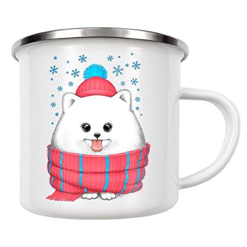 artboxONE Emaille Tasse 'Winter dog' von Nikita Korenkov - Emaille Becher Fashion