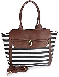 Lorna Women's Stylish Hand Bag (Brown & White)