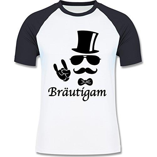 JGA Junggesellenabschied - Bräutigam Hipster Suit up - zweifarbiges  Baseballshirt für Männer Weiß/Navy Blau
