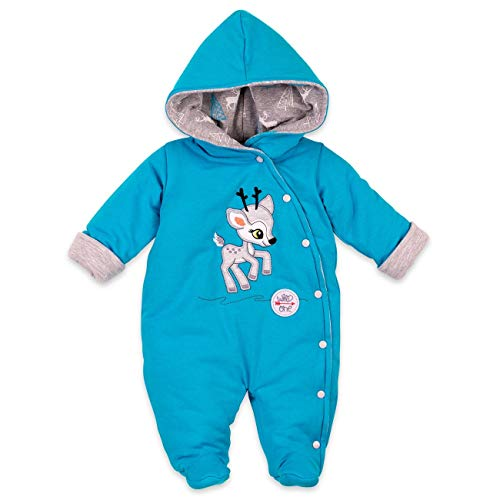 Koala Baby Winter Overall Jungen   Farbe: blau   Baby Schneeanzug mit Kapuze für Neugeborene & Kleinkinder   Größe: 6 Monate (68)