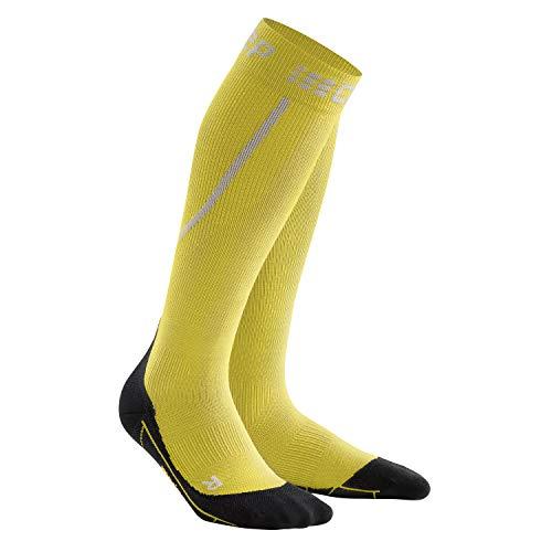 CEP – Winter Run Socks, Laufsocken in gelb/schwarz, Größe III für Herren, Kompressionsstrümpfe Made by medi