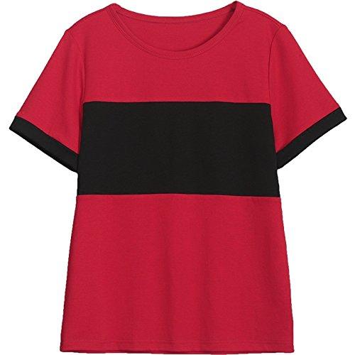 MoMo T-shirt à manches courtes femmes été lâche mince tops T-shirt couleur couture coton T-shirts,rouge