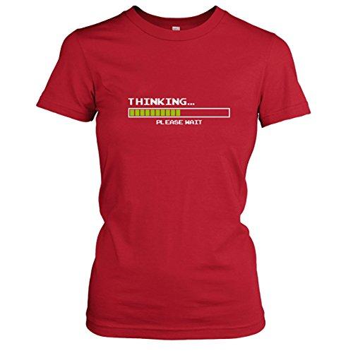Per iPhone/iPad App animiertes T-Shirt: Thinking...please wait (Augmented Reality T-Shirt für echte Nerds) - Damen, T-Shirt Rot