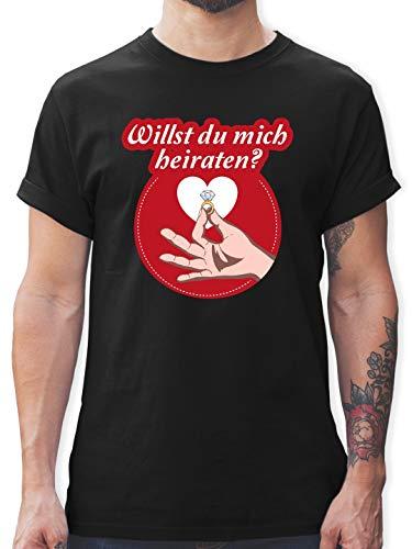 Valentinstag - Willst du Mich heiraten? Ring - XXL - Schwarz - L190 - Tshirt Herren und Männer T-Shirts