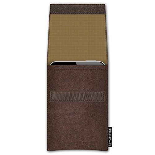 SIMON PIKE Apple iPhone SE/5S/5C/5 Filztasche Case Hülle 'Sidney' in braun 15, passgenau maßgefertigte Filz Schutzhülle aus echtem Natur Wollfilz, dünne Tasche im schlanken Slim Fit Design für das iPh braun Filz (Muster 15)