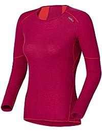 Odlo Unterhemd Shirt Long Sleeve Crew Neck X-Warm - Top interior térmico para mujer, color cereza, talla XL