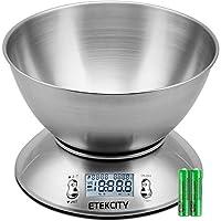 وعاء الطعام ديجيتال كيتشن متعدد الوظائف قابل للإزالة بسعة 2.15 لتر درجة حرارة ومؤقت للغرفة السائل، 11 باوند 5 كجم، موازين للإضاءة الخلفية، 8.4 بوصة 8.4 بوصة 3.6 بوصة، فضي من اتيكسيتي