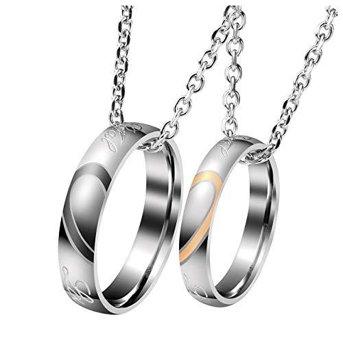 Zysta Gravur 2PCS Pärchen Kette- Edelstahl Damen Herren Ringe Anhänger Paar Halskette mit Gravur für Paare Liebhaber (#1(ohne Gravur)) - Gravur Mit Halskette