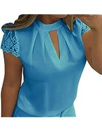 a3c92114fe45 Damen Chiffon Bluse Elegant Tunika Top Lose Hemd Sommerhemd Kurzarm  Hemdbluse Herbst Sommer Oberteile von Bluelucon