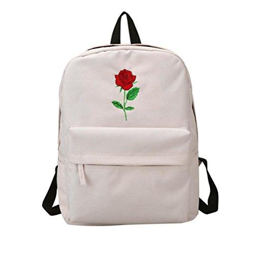 Longra Sacchetto di viaggio degli amanti dello zaino di viaggio del ricamo della Rosa Bianca_A