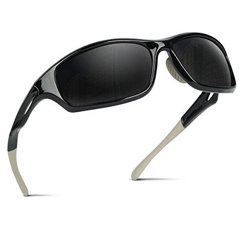 Occffy Polarisierte Sportbrille Sonnenbrille Fahrradbrille mit UV400 Schutz für Herren Autofahren Laufen Radfahren Angeln Golf TR90 (599 Schwarze Rahmen mit Schwarze Linse)