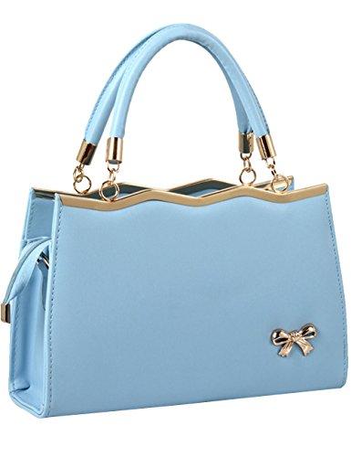 Menschwear Leather Tote Bag lucida PU nuove signore borsa a tracolla Viola Cielo Blu