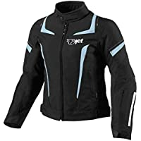 JET Chaqueta Moto Mujer Textil Impermeable con Armadura (L (ES 40-42), Azul)