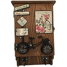 Caja de llaves con 2 colgadores - Decoración Bicicleta Vintage - Color NEGRO