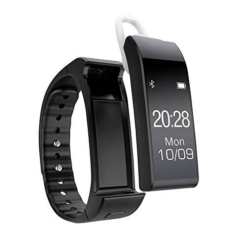 YUNTAB-Smartwatch-Sport-Smartband-sonno-cinghia-Collegato-Messaggio-promemoria-Bluetooth-Smartband-Sport-banda-vocale-Contapassi-o-chiamata-Smartphone-Android-e-Apple-iOS-iPhone-Nero