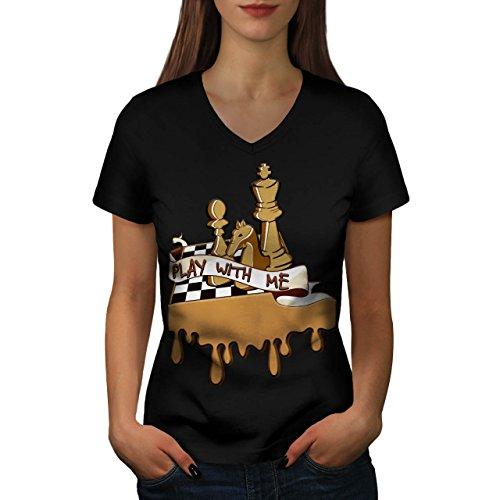 jouer-echecs-avec-moi-jeu-planche-femme-nouveau-noir-xl-t-shirt-wellcoda