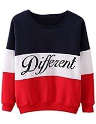SODIAL(R)Ropa femenina Cartas estampadas Diferente Mixto Informal suelto Sueter de pulover Azul + Rojo XL
