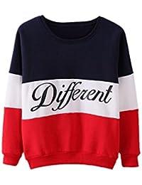 SODIAL(R)Ropa femenina Cartas estampadas Diferente Mixto Informal suelto Sueter de pulover Azul + Rojo M