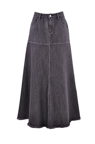 Style J Flowing Chambray Rock Denim Lang Schwarz