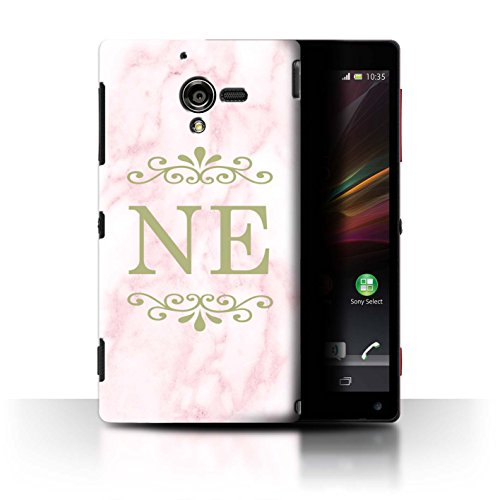 Personalisiert Rosa Marmor Mode Hülle für Sony Xperia ZL LTE / Gerahmt Gold Marke Design / Initiale/Name/Text Schutzhülle/Case/Etui