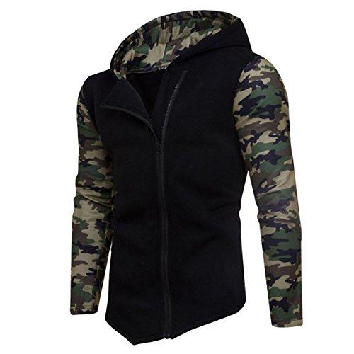 Herren Reißverschluss Camouflage Hoodies,Moonuy Männer Junge Winter Baumwolle Camouflage Persönlichkeit Reißverschluss Hoodie Mit Kapuze Mode Sweatshirt Mantel Jacke Charme Outwear (Schwarz, S) (Jungen Winter Nike Mäntel)