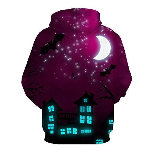 LOPILY Halloween Kostüme Unisex Mond 3D Sweatshirts Halloween Gruselige Skelett Sweatshirt 3D Kapuzenhoodie Ärger Kürbis Printed Pullover Damen Halloween Party Shirt mit Fledermaus (Mehrfarbig, 36) (Wikinger Kostüm Selbstgemacht)