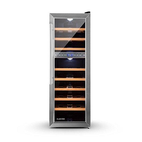 Klarstein Reserva 27D cantinetta vino frigorifero con 8 ripiani e 2 zone di raffreddamento programmabili (76 litri, 27 bottiglie, pannello di controllo touch, ripiani in legno, illuminazione LED) - silver