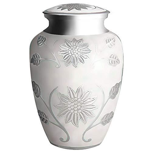 Bestattung der Beerdigung Urne für Erwachsene - handgefertigt aus Messing & Hand Engraved - Anzeige Burial Urn zu Hause oder in Niche in Columbarium ( Rose Weiß, Große Urne -