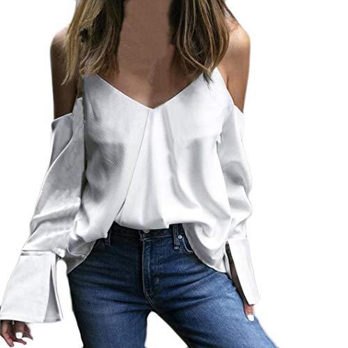 Damen Bluse,Geili Mode Frauen Camisole Einfarbig Schulterfrei Shirt Damen Sexy V-Ausschnitt Lange...