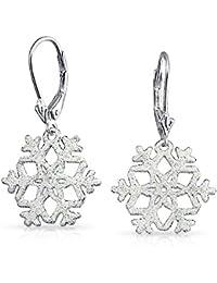 Bling Jewelry White Stardust Glitter Silver Snowflake Leverback Earrings
