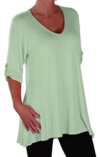 EyeCatch Plus - Tunique basique col en V - Shellie - Femme - Grandes Tailles Menthe Vert