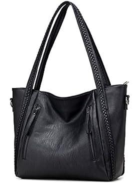 HeHe Damen Handtasche PU-Leder Shopper Tasche Schultertasche für Schule Reisen Arbeit und Einkäufe