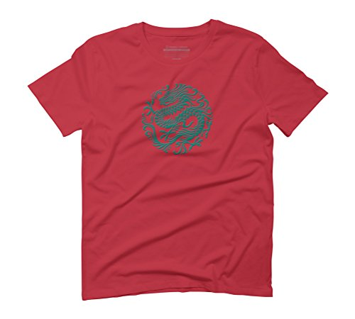 Traditional Teal Blue Chinese Dragon Circle Men's Graphic T-Shirt - Design By Humans Red